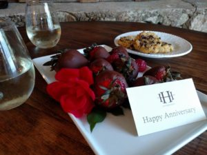 Hoffman Haus' Gift for our Anniversary, Chocolate covered strawberries and rose